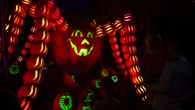 Dollywood attendees check out a pumpkin spider at Dollywood's nighttime fall experience, Great Pumpkin LumiNights, on Sept. 28, 2017. Dollywood's 2018 Harvest Festival, including Great Pumpkin LumiNights, will start Sept. 28 and continue through Nov. 3.