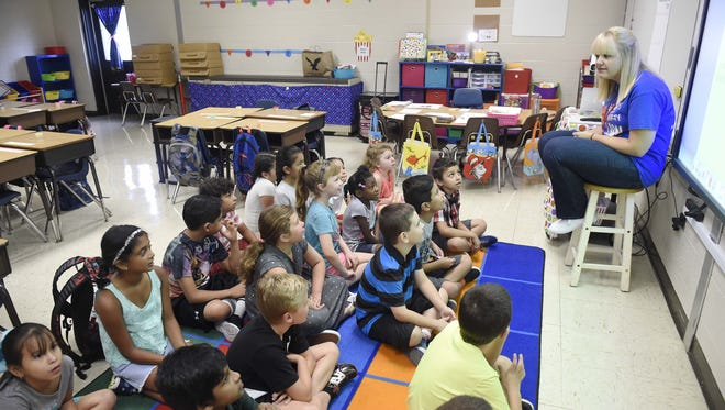 Gina Morgan talks with her second-grade class on the first day of school at Liberty Elementary August 5, 2016 in Franklin, Tenn.