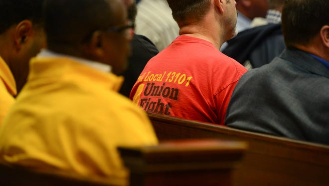 """Members of the community came out to voice their options on Tuesday, Oct. 31, 2017 at the Sussex County Court House in Georgetown during public comment in response to a possible introduction of a proposed ordinance """"Right-to-Work."""""""