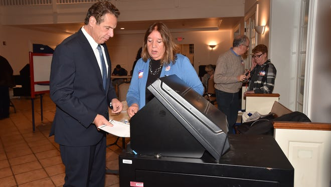 Gov. Andrew Cuomo voted Tuesday, Nov. 7, 2017, in the general election at his polling place in Westchester County.