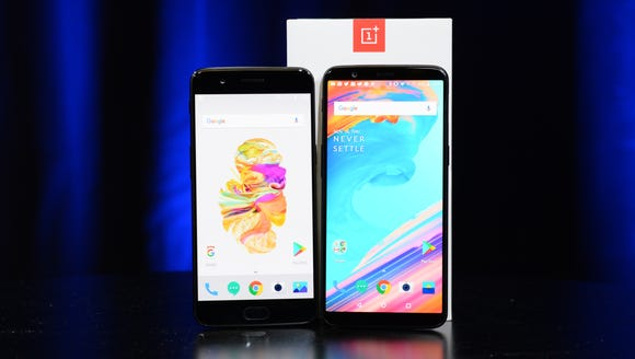 June's OnePlus 5, left, next to the new OnePlus 5T,