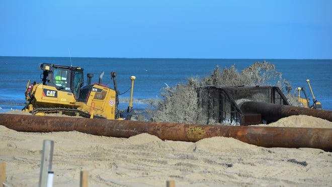 The Great Lakes Dredge & Dock Company works to renourish the beaches in Ocean City on Monday, Nov. 20, 2017.