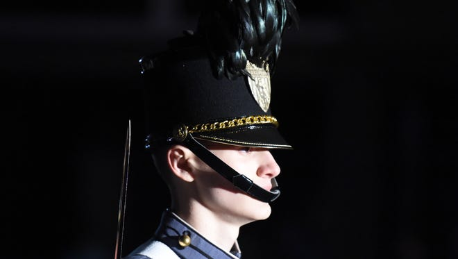 A cadet from Fishburne Military Academy marches in the 2017 Waynesboro Christmas Parade on Saturday, Dec. 2.