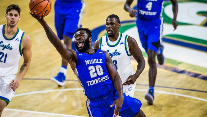 MTSU senior guard Giddy Potts goes up for a layup in a game against Florida Gulf Coast at Alico Arena in Fort Myers, Fla., on Dec. 2, 2017.