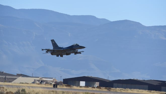 An F-16 Fighting Falcon from the 8th Fighter Squadron takes off at Holloman Air Force Base, N.M., Nov. 27, 2017. The aircraft took part in the 8th FS's first flight since it was reactivated in August 2017.