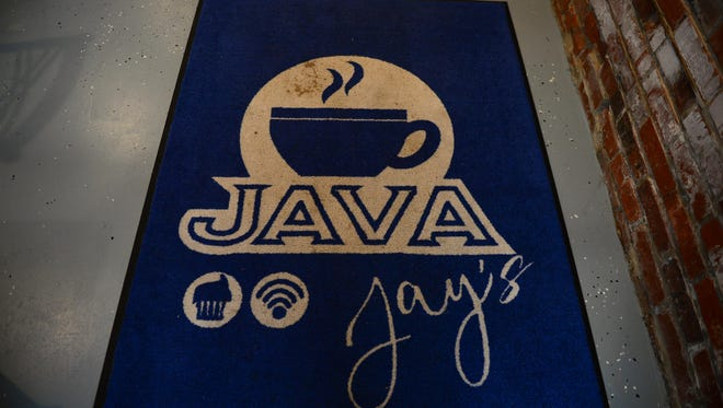 Painted logo for Java Jay's coffee shop in Crisfield.