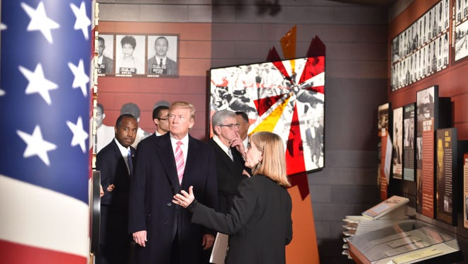 President Trump visits the Mississippi Civil Rights Museum in Jackson, Mississippi, on December 9, 2017.  The museum's mission is to document and exhibit the history of, and educate the public about, the American Civil Rights Movement in the statebetween 1945 and 1970.