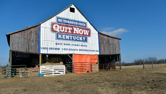 Once it stored tobacco, now this 100 year old barn owned by former tobacco farmer Michiel Vaughn now holds rabbits and sheep and displays a message for Kentuckians to quit smoking.