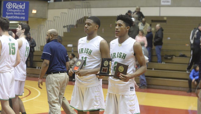 Armaan Franklin (2) was named tournament MVP and Jarron Coleman (11) was also named to the all-tournament team as Cathedral defeated Tindley to win the 11th annual Bob Wettig Memorial Tournament at Richmond High School's Tiernan Center Friday, Dec. 29, 2017.