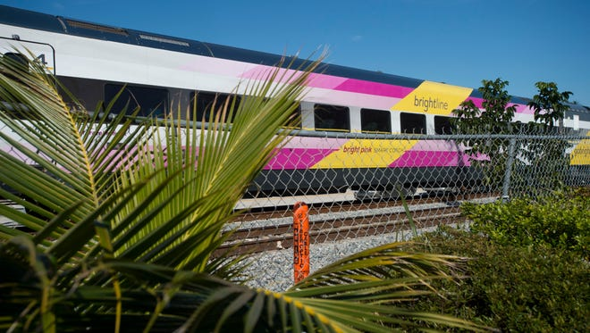 Brightline trains continue service between West Palm Beach and Fort Lauderdale.