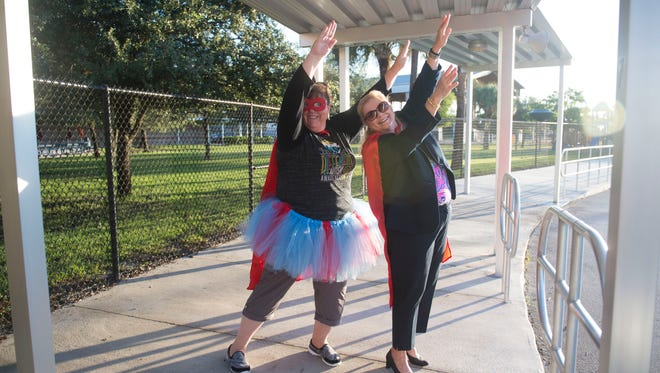 Dr. Dianne Memmer-Novak, principal of Hobe Sound Elementary School, and Laurie Gaylord, (right) superintendent of the Martin County School District, welcomed students to the first day of school Tuesday, Aug. 15, 2017, in Hobe Sound. Currently, Gaylord's position with the school district is an elected position. Florida is one of only three states in the country that has elected superintendents. If Proposal 33 is approved by the 37-member Constitution Revision Commission in March, it will be placed on the November ballot. If approved by at least 60 percent of voters, all Florida counties will be required to appoint superintendents.