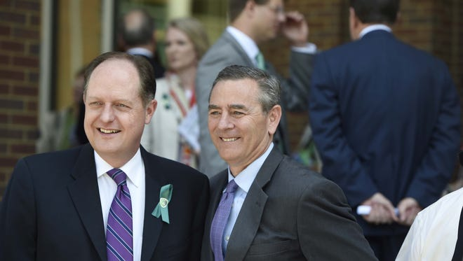 Tennessee state Sen. Jack Johnson and Rep. Glen Casada. Johnson has been elected majority leader of the state Senate, and Casada was selected as the state speaker of the House.