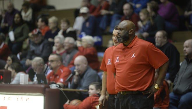 Richmond boys basketball coach Rick Wedlow during Richmond's 70-62 loss to Fort Wayne Wayne Friday, Feb. 23, 2018 at Tiernan Center.