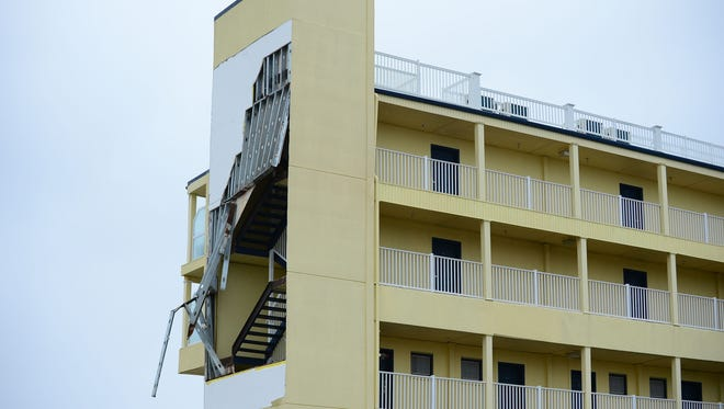 The Days Inn on 22nd street has sustained structural damage due to high winds on Friday, March 2, 2018.
