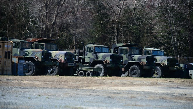 A few of the Federal Surplus vehicles that The Dewey Beach Police Department has stored outside of the city limits on Monday, March 5, 2018.