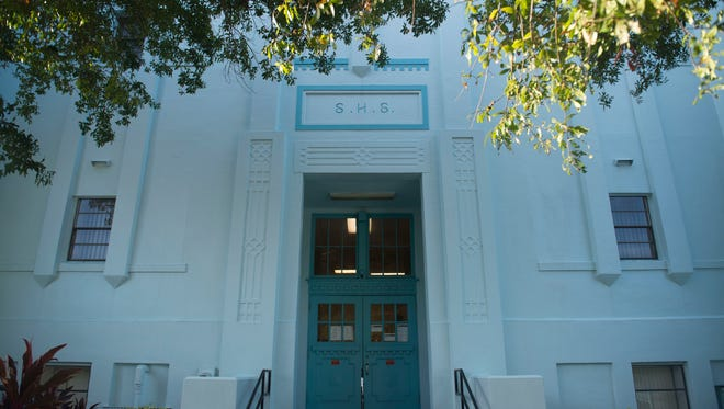 Stuart High School, pictured Oct. 10, 2017, was built in 1922 and now serves as the Martin County School District administration building, with school board meetings there at least twice a month. The district would like to build a new administration building and the Martin County Arts Council is interested in purchasing the old high school.