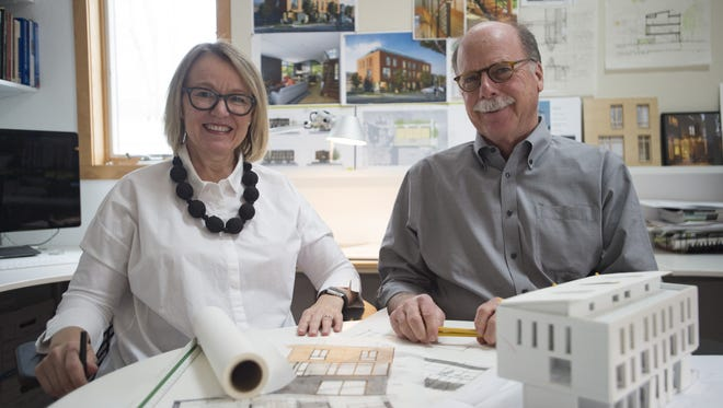 Laurie and Bob Davis pose for a portrait in their studio on Thursday, March 15, 2018. The architects are working to build Fort Collins' first NetZero Energy and Living Building certified townhomes.