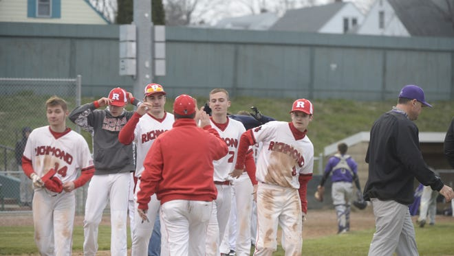 The Richmond High School baseball team defeated Muncie Central 11-1 for its first victory of the 2018 season Tuesday, April 10, 2018 on John Cate Field at McBride Stadium.
