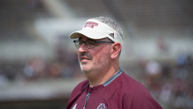 Mississippi State coach Joe Moorhead before his first spring game as coach in Starkville on April 21, 2018.