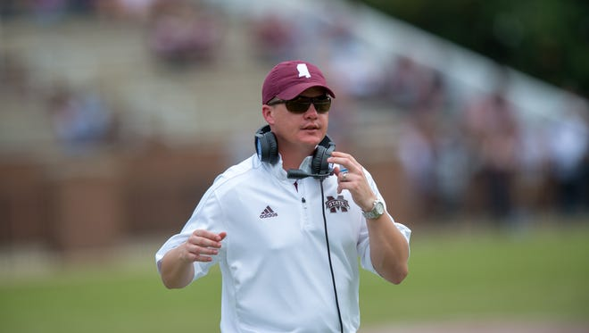 Mississippi State assistant Andrew Breiner before the annual Maroon and White game at Davis Wade Stadium on the Campus of Mississippi State University on April 21, 2018.