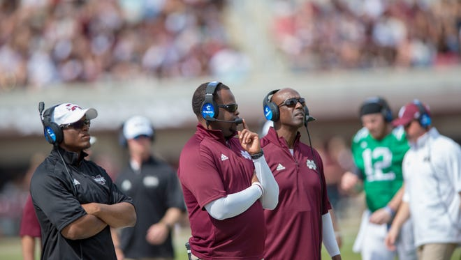 Mississippi State coaches during the annual Maroon and White game at Davis Wade Stadium on the Campus of Mississippi State University on April 21, 2018.