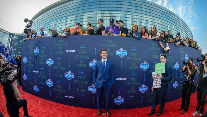 UCLA quarterback Josh Rosen arrives on the red carpet before the 2018 NFL Draft at AT&T Stadium. The Cardinals took Rosen with the No. 10 pick in the first round.