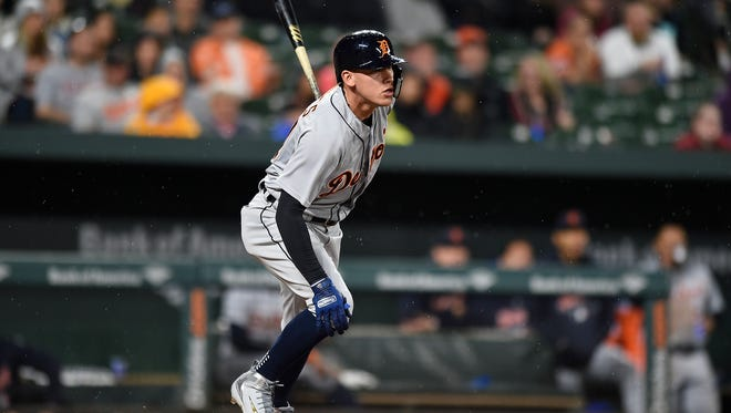 Detroit Tigers' JaCoby Jones watches a double against the Baltimore Orioles during the third inning.