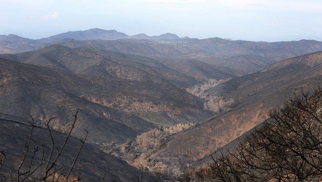 A blanket of ash covers Sycamore Canyon after the Springs Fire in the Point Mugu State Park area.