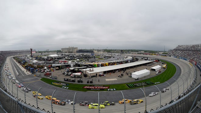 Drivers compete during the NASCAR Cup Series auto race, Sunday, May 6, 2018, at Dover International Speedway in Dover.