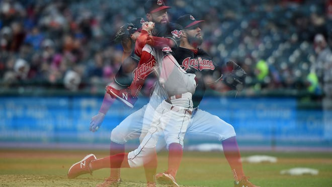 This is a multiple exposure image of Cleveland Indians ace Corey Kluber pitching against the Detroti Tigers at Progressive Field on April 9.