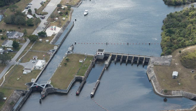 The St. Lucie Lock and Dam as seen from the air Feb. 16, 2017, well before Lake Okeechobee discharges started with the arrival of Hurricane Irma in September.