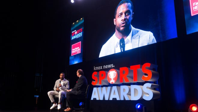 Green Bay Packers player Randall Cobb speaks at the Knox News Sports Awards at the Tennessee Theatre in Knoxville, Tennessee on Thursday, May 31, 2018.