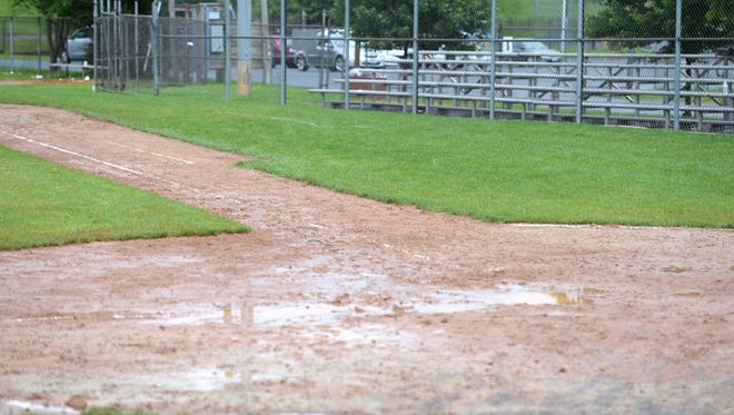 Rain fell on Moxie Memorial Stadium again Monday, forcing the Staunton Braves to postpone the first day of youth baseball camp.
