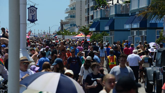 Crowds pack the boardwalk during the 2018 Ocean City Air Show on Saturday, June 16, 2018