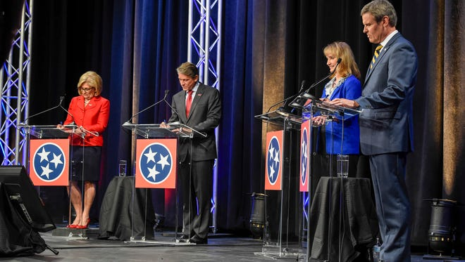 Republican gubernatorial candidates Diane Black, Randy Boyd, Beth Harwell and Bill Lee debate one another at Pope John Paul II High School in Hendersonville on June 20, 2018.