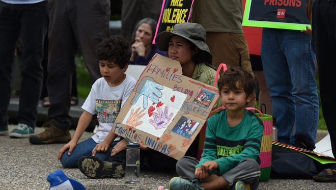 """Scenes from the """"Stop Torturing Children"""" rally at the Shenandoah Valley Juvenile Center in Verona, Va., Sunday morning, June 24, 2018."""