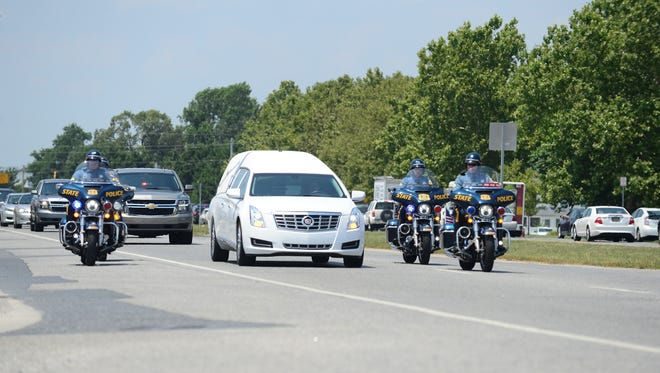 Delaware State Trooper Master Cpl. William Matt's funeral procession from St. Jude the Apostle Catholic Church in Lewes, Del. to the Delaware Veterans Memorial Cemetery in Millsboro, Del. on Monday, July 16, 2018.