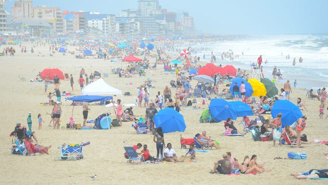 Umbrellas line the beach in Ocean City, Md. on Monday, July 23, 2018.