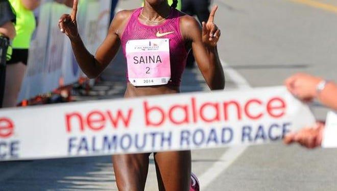 Betsy Saina, winning the 2014 Falmouth Road Race.
