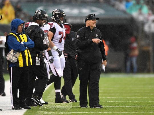 Atlanta Falcons head coach Dan Quinn on the sideline. The New York Jets lead the Atlanta Falcons 17-13 at the half on Sunday, October 29, 2017 in East Rutherford, NJ.