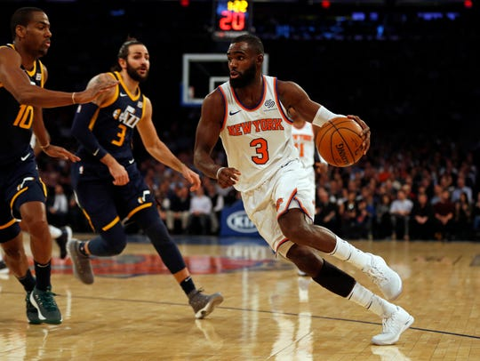 New York Knicks forward Tim Hardaway Jr. (3) drives
