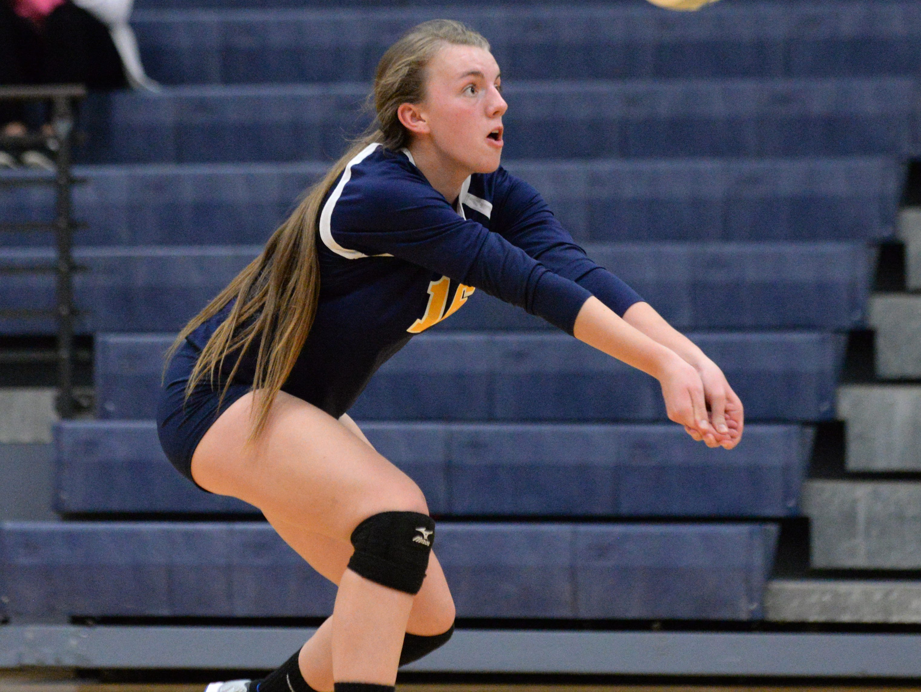 Haslett's Abby Boss bumps the ball during the Class B Volleyball District Tournament against Williamston at Haslett High School. Haslett defeated Williamston in three sets.