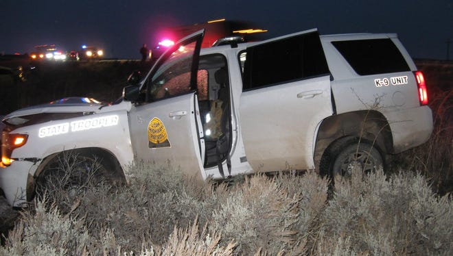 A Utah Highway Patrol trooper is doing fine after hitting a vehicle allegedly attempting a U-turn on I-15.