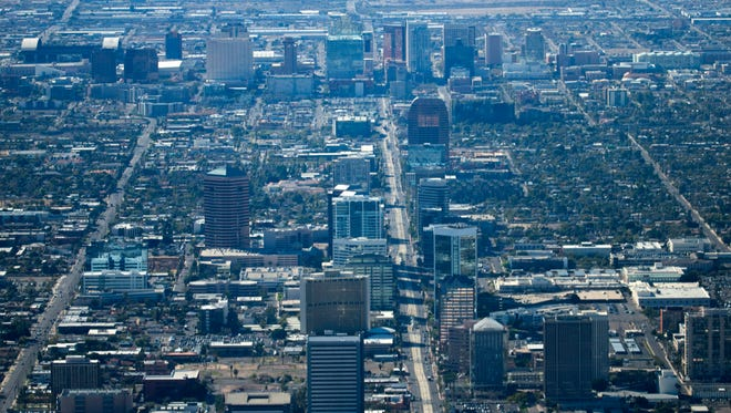 """Central Avenue and downtown Phoenix as seen from the """"Snoopy 2"""" MetLife Blimp on Friday, Feb. 5, 2016."""