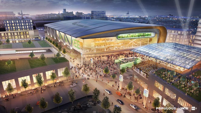 An artist's rendering shows a proposed new arena for the Milwaukee Bucks.