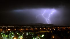 Lightning flashes in the Spring Mountains National