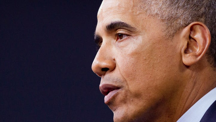 President Obama speaks during a news conference at