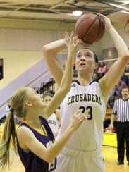 Mary Foster of Notre Dame shoots against Unadilla Valley