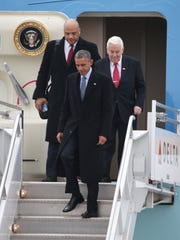 President Obama arrives in Indianapolis with Richard Lugar and Andre Carson on board Air Force One. Obama traveled to Indianapolis to speak at Ivy Tech Friday, February 6, 2015.