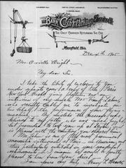 This 1905 letter from Henry Purdy Weaver in Mansfield